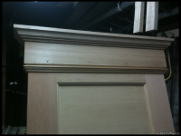 The trim was made from recycled bead board, old flooring and the origional crown moulding from the hutch project.