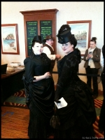 Victorian Mourning Attire...  The girl on the left was so Goth that I am sure she shits bats.